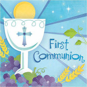 First Communion Napkins With Blessed Sacrament On Blue Background Beverage Size 36 Count AN70976