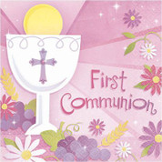 First Communion Napkins With Blessed Sacrament On Pink Background Beverage Size 36 Count AN709100