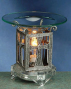 Scented Pewter Electric Oil Burner - Cross Flower Style