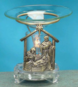 Scented Pewter Electric Oil Burner - Nativity Scene Burner
