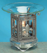 Scented Pewter Electric Oil Burner - Fleur de Lis Burner