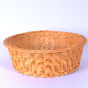 Offertory Collection Round Basket light brown golden honey color wicker style