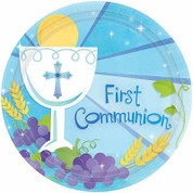First Communion paper Party Plates with Blessed Sacrament On blue  Background 18 Count measure 10 and 1 half inches AN729576