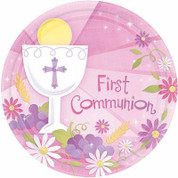 First Communion paper Party Plates with Blessed Sacrament On Pink Background 18 Count measure 10 and 1 half inches AN729100