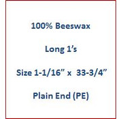 "Cathedral 100% Beeswax Long 1's - Size 1-1/16"" x 33-3/4""   Plain End (PE)"