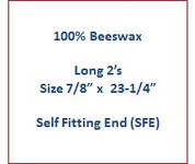 "Cathedral 100% Beeswax Long 2's - Size 7/8"" x 23-1/4"" - Self Fitting End (SFE)"