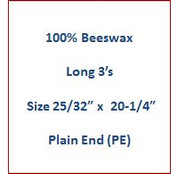 "Cathedral 100% Beeswax Long 3's - Size 25/32"" x 20-1/4""   Plain End (PE)"