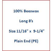 "Cathedral 100% Beeswax Long 8's - Size 11/16"" x 9-1/4""   Plain End (PE)"