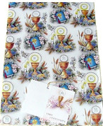First Communion Gift Wrap Blessed Sacrament & Bible Pattern measures 27 by 39 inches RI118000