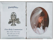 First Communion Frame for a daughter with a Blessed Sacrament Emblem made of Metal With Silver-Colored Finish holds photo 2 and 3 quarters by 3 and 3 quarter inches Photo MA7616