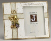 My First Communion Frame with Blessed Sacrament and Gold Accents holds 3 and 1 half by 5 inch photo RO47604