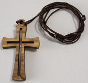 Cross Within A Cross made of Stained Wood comes on Brown Cord measures 1 and 3 quarter inches TIE049503