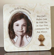 First Holy Communion Frame with Blessed Sacrament and words of God's Perfect Love measures 3 and 1 half inches by 5 inches RO63085