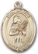 "14 Karat Oval Medal-Size Large-1 1/4""-St. Agatha"