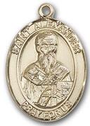 """14 Karat Oval Medal-Size Large-1 1/4""""-St. Alexander"""