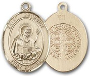 "14K Gold Filled Oval Medal-Size Large-24"" Chain-1 1/4""-St. Benedict"