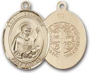"""14 Karat Oval Medal-Size Large-1 1/4""""-St. Benedict"""