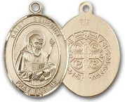 "14 Karat Oval Medal-Size Medium-7/8""-St. Benedict"