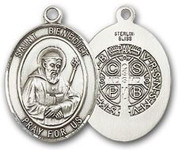 "Sterling Silver Oval Medal-Size Small-18"" Chain-5/8""-St. Benedict"