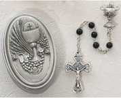 5 millimeter black First Communion Rosary Beads with pewter Blessed Sacrament Centerpiece and Crucifix comes With oval Pewter Box with Blessed Sacrament emblem MA463CBD