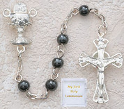 5 Millimeter hematite Communion Rosary Beads with Blessed Sacrament Centerpiece MAP124R