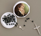 First Communion Rosary Beads With Case | Blessed Sacrament | Black | Boy