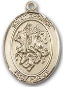 """14 Karat Oval Medal-Size Large-1 1/4""""-St. George"""
