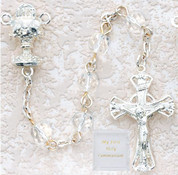 6 MM Clear Beads Communion Rosary Beads with Blessed Sacrament Centerpiece MAP120R