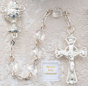 glass heart Communion Rosary Beads with Blessed Sacrament Centerpiece MAP131R