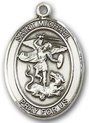 "Sterling Silver Oval Medal-Size Medium-18"" Chain-7/8""-St. Michael"