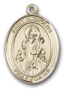 "14 Karat Oval Medal-Size Small-5/8""-St. Nicholas"