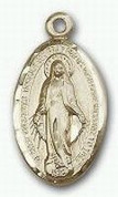 Miraculous Medal 14 Karat Gold 13/16 x 9/16 - NO Chain