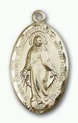 Miraculous Medal 14 Karat Gold 1-1/4 x 3/4 - NO Chain