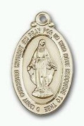 Miraculous Medal 14 Karat Gold 1 x 11/16 NO Chain