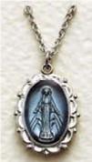 """Miraculous Medal - Blue Enamel - 18"""""""