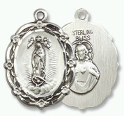 "Sterling Silver OLG & Sacred Heart of Jesus Pendant - 18"" Chain"