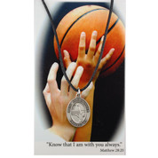 St Christopher Girl Sport Medal 5 Sports Prayer Card Pewter MAPSD676