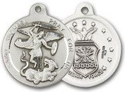 "Sterling Silver Round Medal-24"" Chain-13/16""-St. Michael & Air Force"
