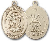 "14K Gold Filled Oval Medal-Size Large-24"" Chain-1 1/4""-St. Michael & Air Force"