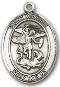 """Sterling Silver Oval Medal-Size Large-24"""" Chain-1 1/4""""-St. Michael & Air Force"""