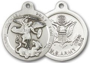 "Sterling Silver Round Medal-24"" Chain-13/16""-St. Michael & Army"