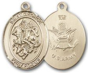 "14K Gold Filled Oval Medal-Size Large-24"" Chain-1 1/4""-St. George & Army"