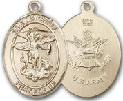 "14K Gold Filled Oval Medal-Size Large-24"" Chain-1 1/4""-St. Michael & Army"