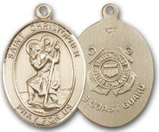 "14K Gold Filled Oval Medal-Size Large-24"" Chain-1 1/4""-St. Christopher & Coast Guard"