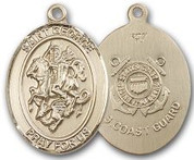 "14K Gold Filled Oval Medal-Size Large-24"" Chain-1 1/4""-St. George & Coast Guard"