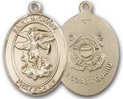 "14K Gold Filled Oval Medal-Size Large-24"" Chain-1 1/4""-St. Michael & Coast Guard"