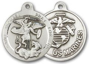 "Sterling Silver Round Medal-24"" Chain-13/16""-St. Michael & U.S. Marines"