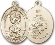 "14K Gold Filled Oval Medal-Size Large-24"" Chain-1 1/4""-St. Christopher & U.S. Marines"