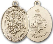 "14K Gold Filled Oval Medal-Size Large-24"" Chain-1 1/4""-St. George & U.S. Marines"