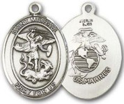 "Sterling Silver Oval Medal-Size Large-24"" Chain-1 1/4""-St. Michael & U.S. Marines"